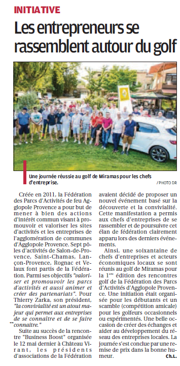 La Provence 17 juillet 2016 Golf