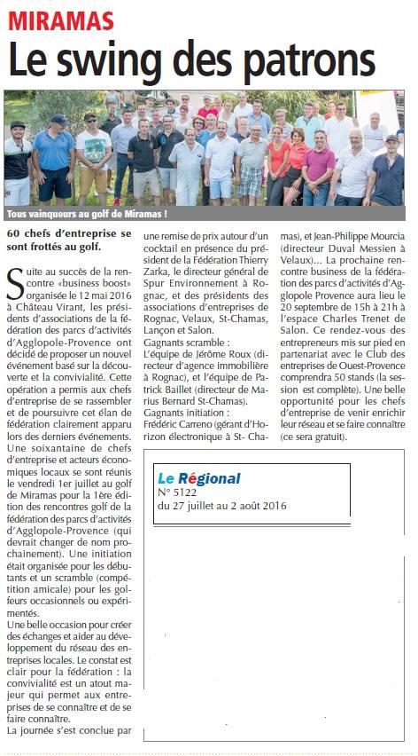 Le Régional 27 juillet 2016 Golf